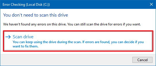 Hard drive error checking tool on Windows 10